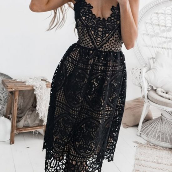 gorgeous midi black lace dress