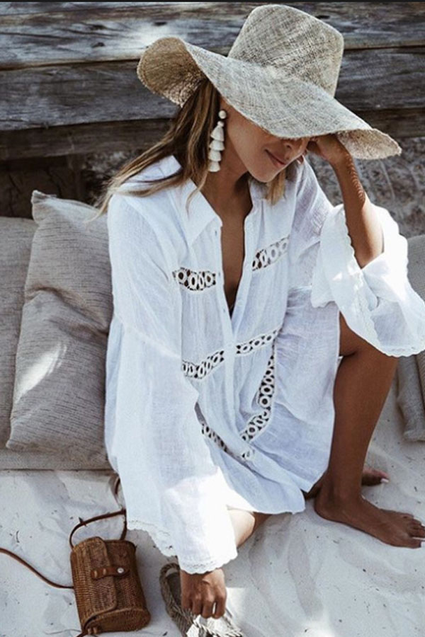 Beach Look Inspo - White Beach Dress with trumpet sleeves, lovely hat and tassel earrings