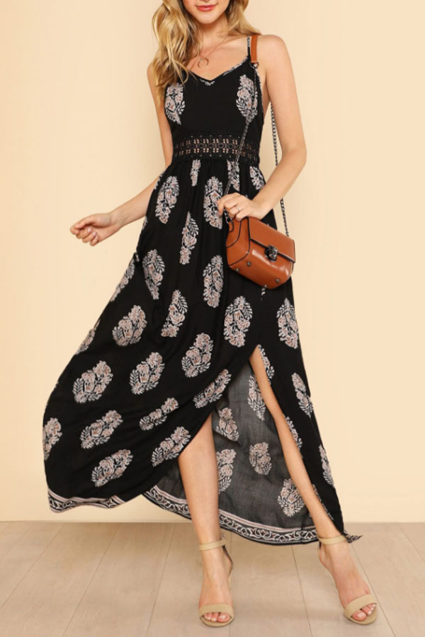 Black Printed Maxi Dress with cute detail in the waist