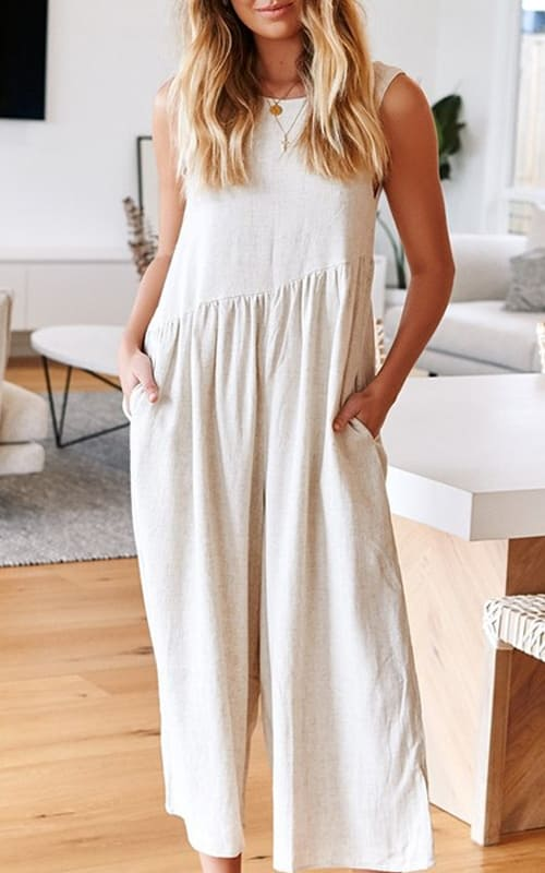 Summer Casual Jumpsuit with Wide Legs