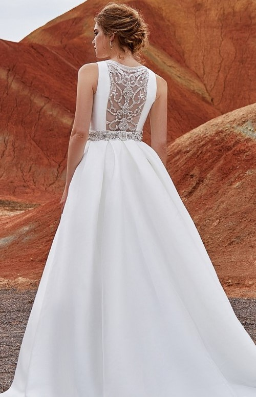 A-line bridal gown with illusion back