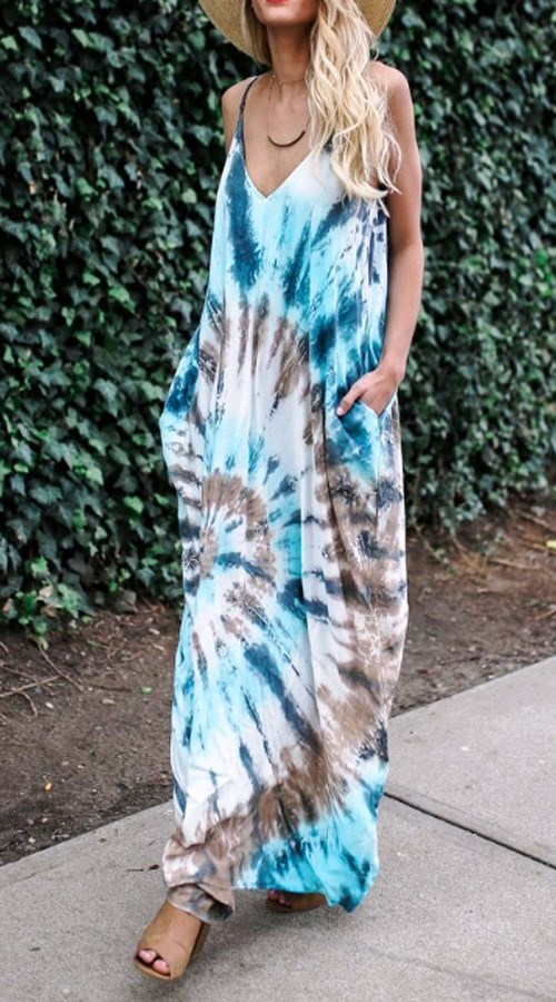 Batik Maxi Dress with pockets #boho #bohemian #batik #maxidress