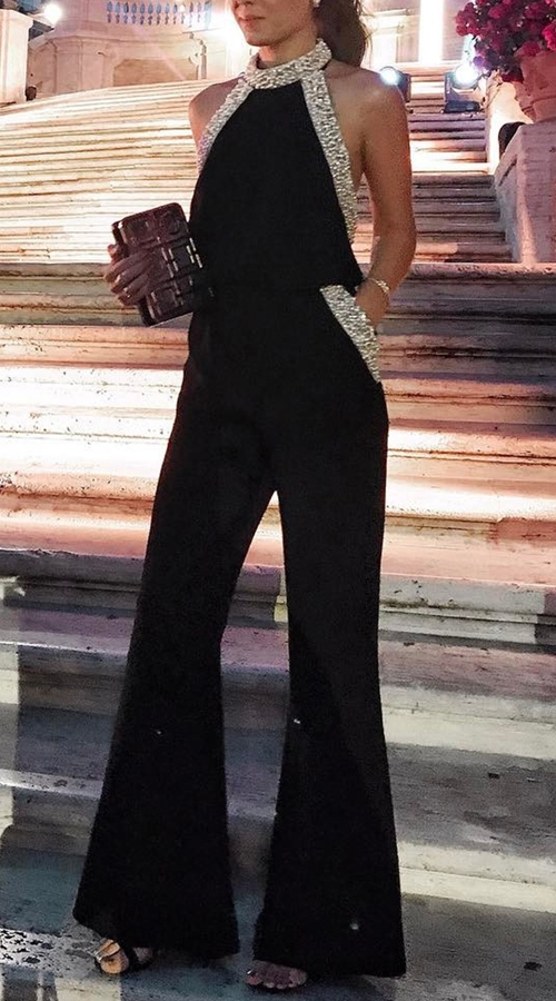 Black Jumpsuit with golden details on the top and pockets. so chic for a party!...
