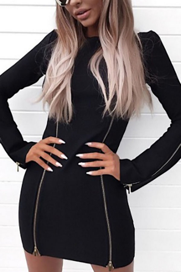 Bodycon Dress with Flared Long Sleeve and Zipper Detail