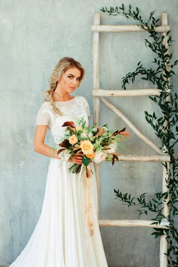 Bohemian Bridal Gown in A-Line with jewel in back