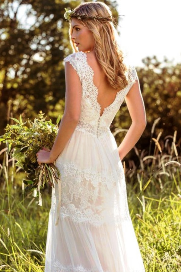 Bohemian Lace & Tulle Wedding Dress