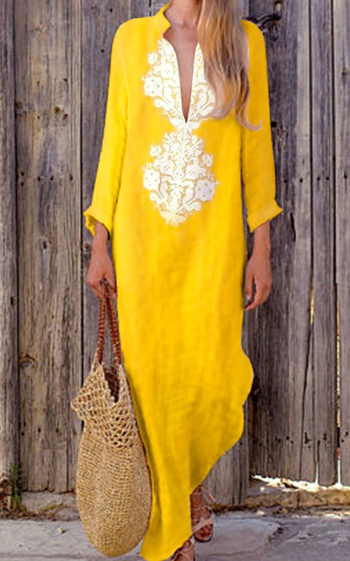 Bohemian Line Yellow Dress
