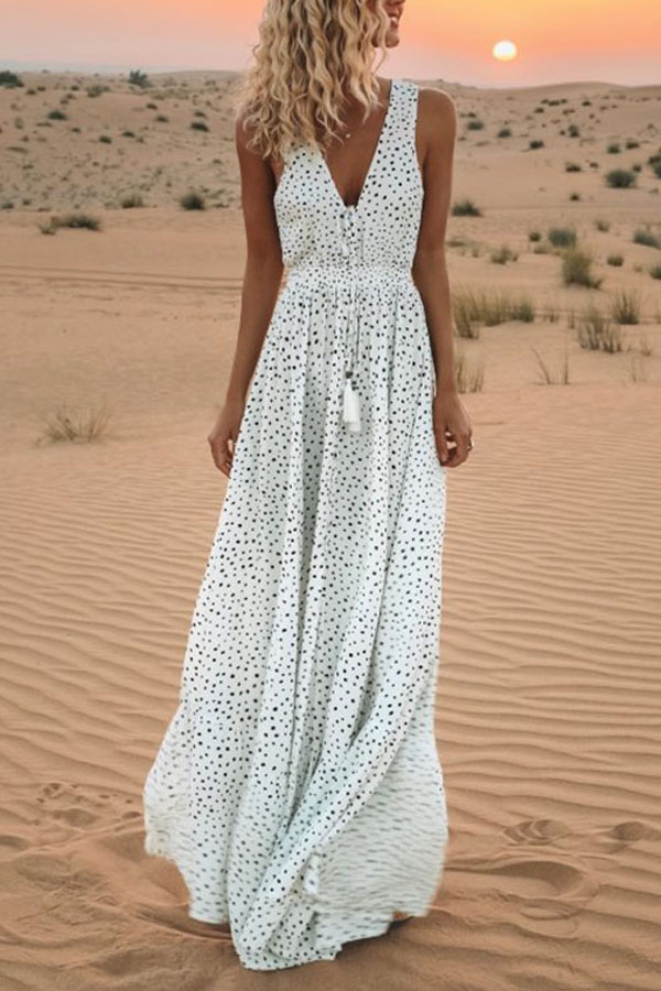 Bohemian Maxi Dress with Polka Dots