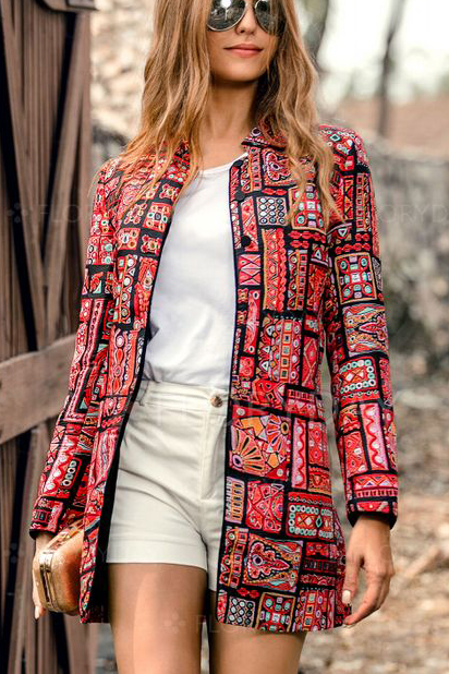 Bohemian Patchwork Red Jacket
