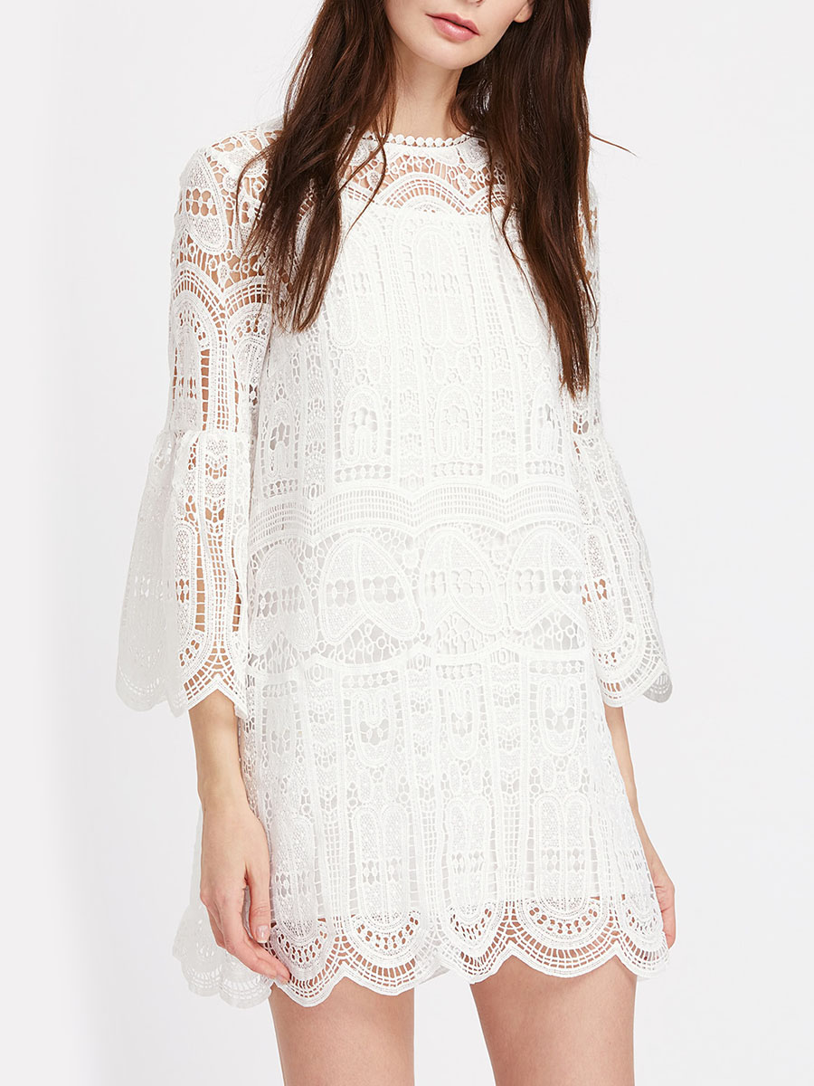 Bohemian White Lace Dress