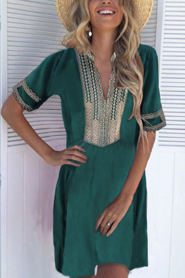 Boho Casual Dresses with Patchwork