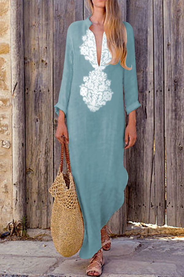 Boho Cotton-Line Loose Dress