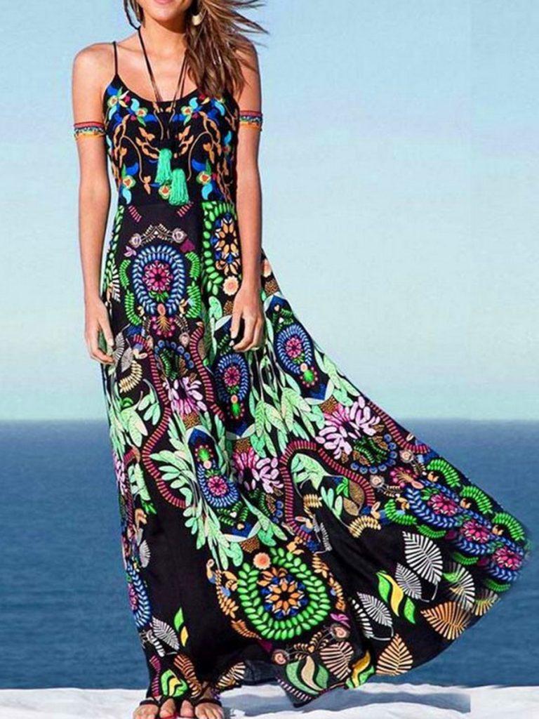 Boho Mexican Style Black Maxi Dress #boho #bohemian #bohodress #bohemiandress #bohooutfit #bohemianoutfit