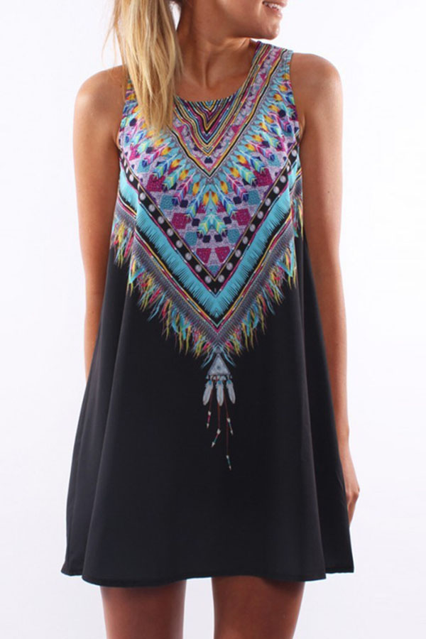 Boho Tribal Print Summer Black Dress #boho #bohemian #BohoDress #SummerDress #BlackDress