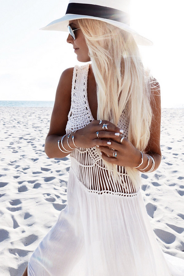 Boho White Crochet Maxi Dress