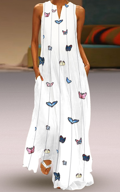 Boho White Maxi Dress with Butterflies #boho #bohemian