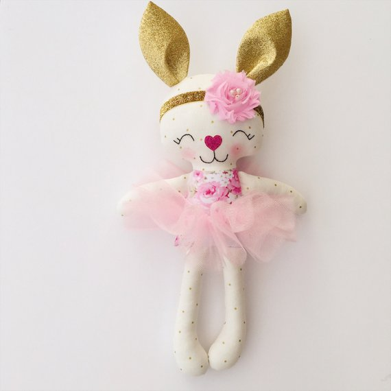 Bunny doll - fabric doll - easter - easter gift - stuffed animal - easter basket - bunny - baby gift - easter bunny - baby shower - stuffed