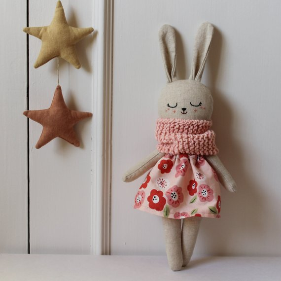 Bunny doll with pink dress and knitted scarf. Organic stuffed animal. Rabbit toy doll. Cloth doll. Rag doll. Eco friendly gift for baby room