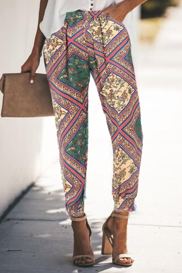 Casual Spring Print Pants