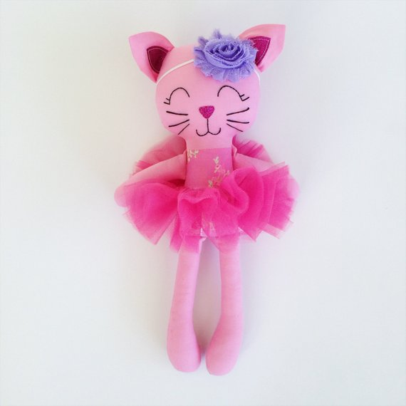 Cat doll - fabric doll - baby gift - kitty doll - girls room decor - girls toy - plush cat - ballerina - plush - kitty cat