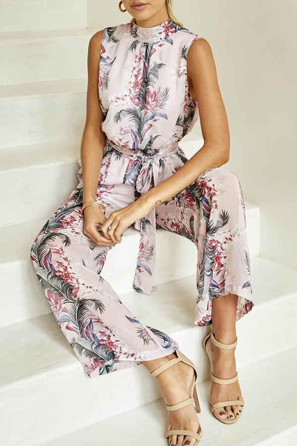 Chic Halter Floral Printed Jumpsuit
