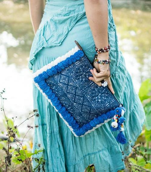 Clutch Bag (Ipad Holder) with Blue and White Pom Pom