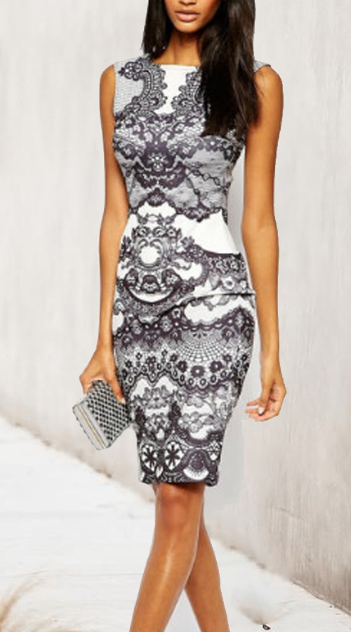 Cocktail tube dress with arabesque print