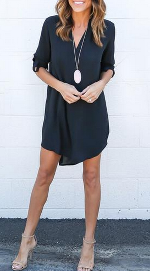 Dark Grey Casual Dresses