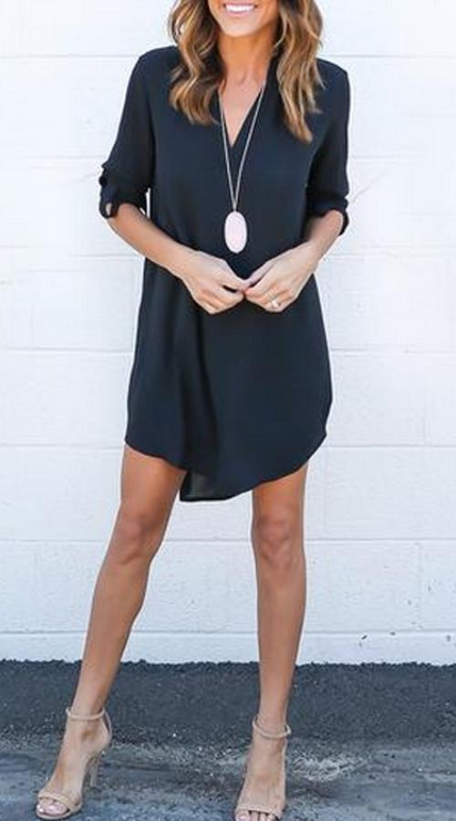 Lovely Casual Black Mini Dress