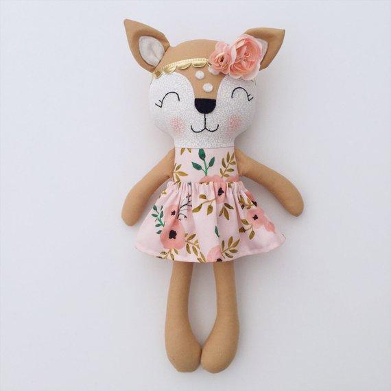 Deer doll - fabric doll - handmade doll - rag doll - girls room decor - fawn doll - baby gift - cloth doll - woodland nursery - rustic