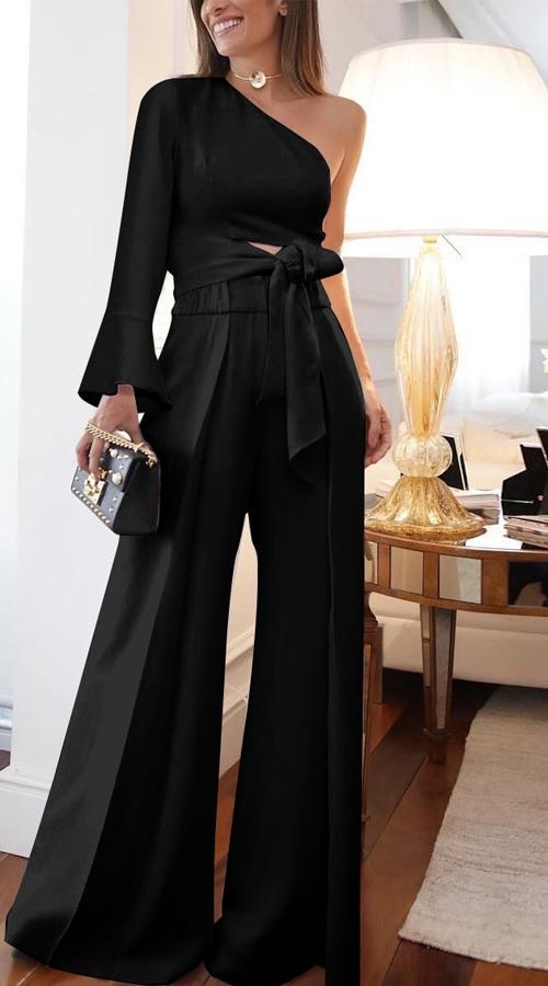 Elegant One Shoulder Black Jumpsuit