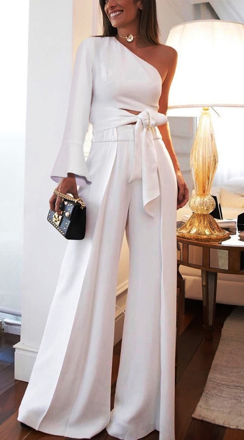 Elegant One-Shoulder White Jumpsuit