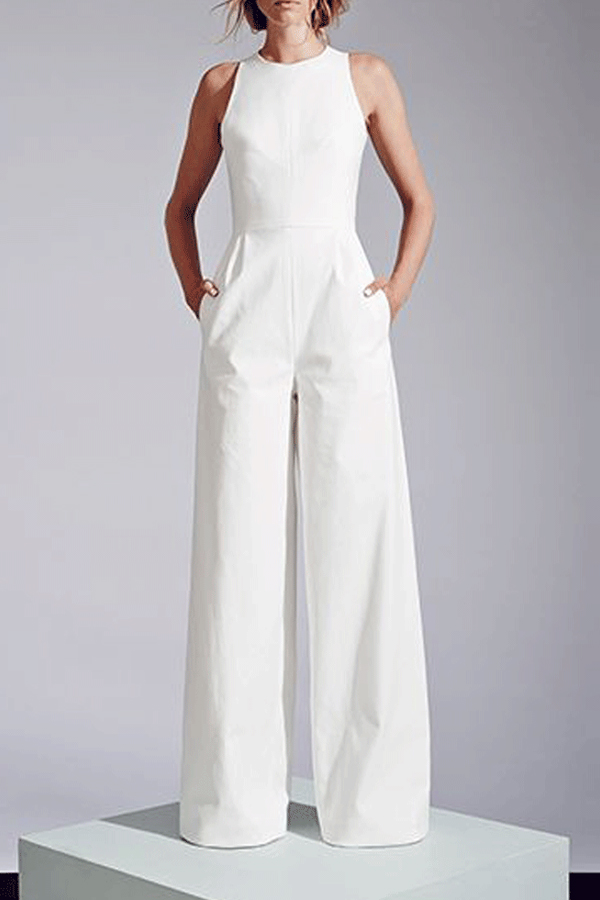 Elegant White Jumpsuit With Pockets