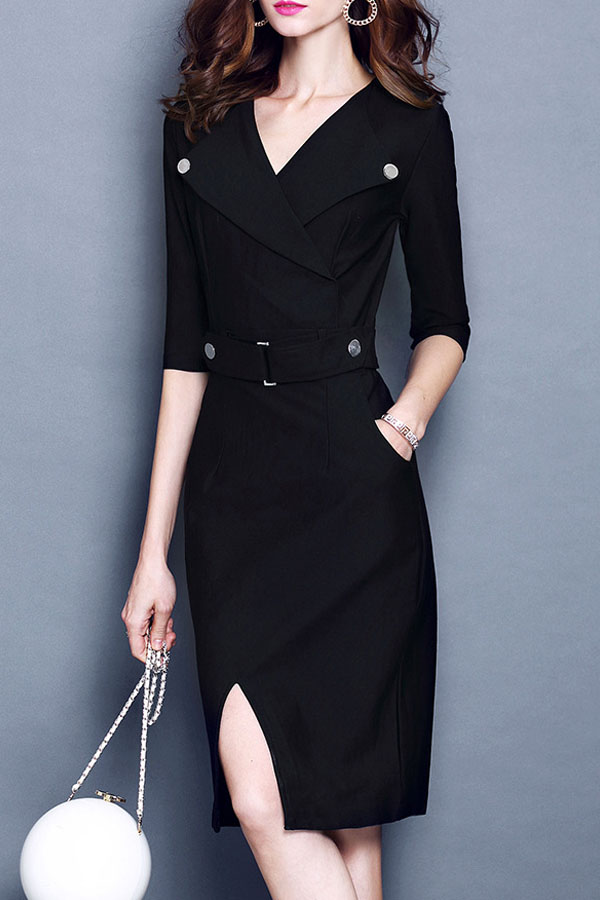 Fitted Black Dress with lapel on top and pencil skirt