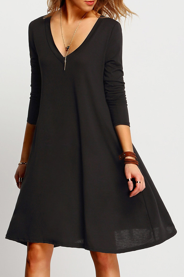 Flared Black Dress with long sleeves and v-neck