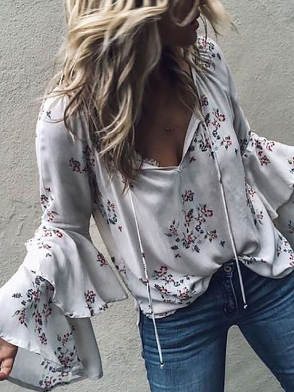 Floral print shirt with ruffled bell sleeves