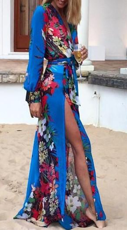 Gorgeous Loose Floral Printed Maxi Dress with Fitting Belt .... a DIVA on the beach #beachdress