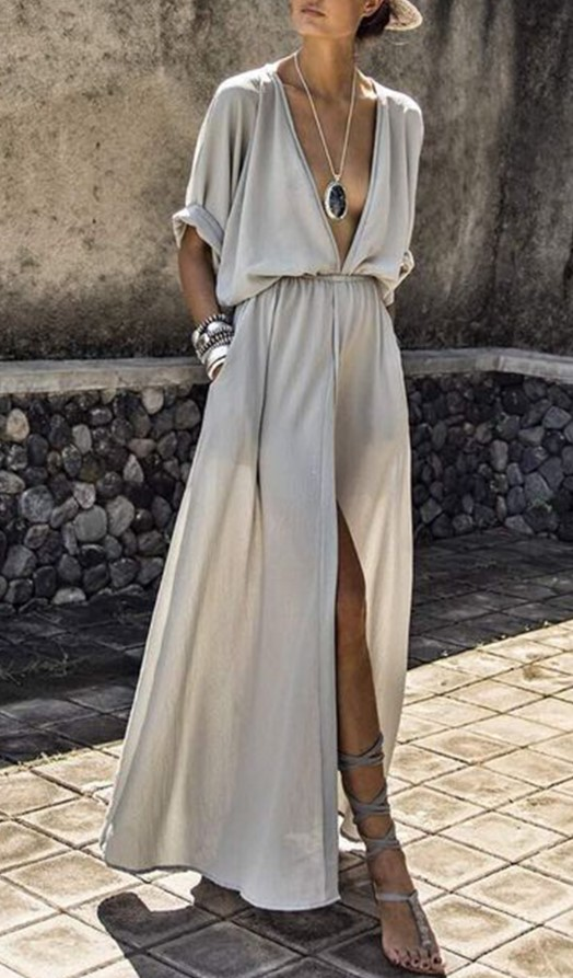 Gorgeous Maxi Dress with Sleeves ... i love the color