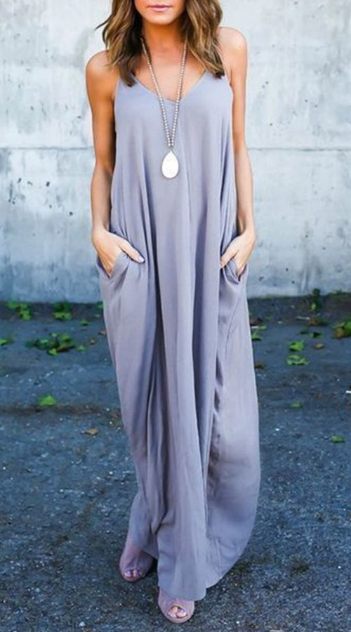 Grey Maxi Dress with pockets #boho #bohemian #maxidress