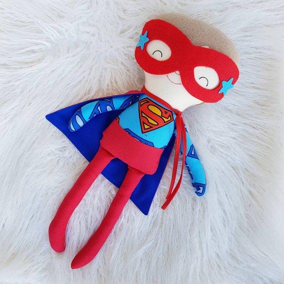 Handmade Superhero Rag Doll, Dolls for Boys, Dolls and Daydreams