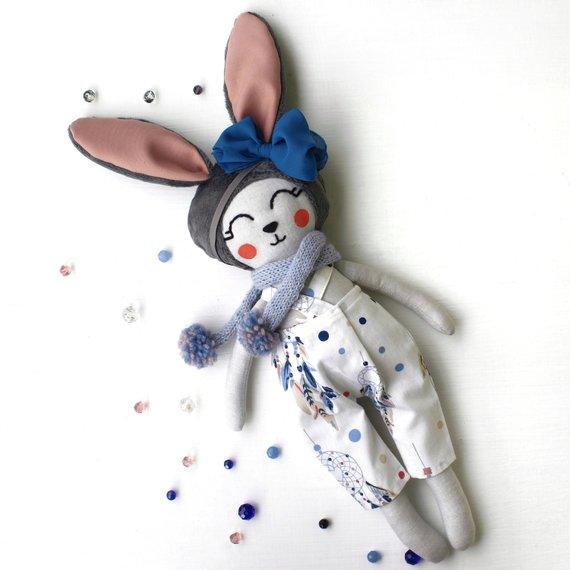 Handmade bunny doll Stuffed toy Handmade toy Birthday present Christmas gift Textile doll Cloth doll