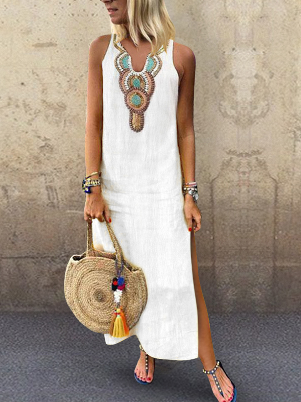 Lovely White Hippy Chic Maxi Dress with detail at neckline