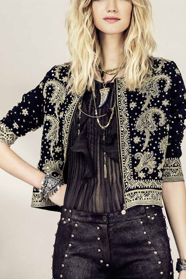 I love this Black and Gold Boho Jacket