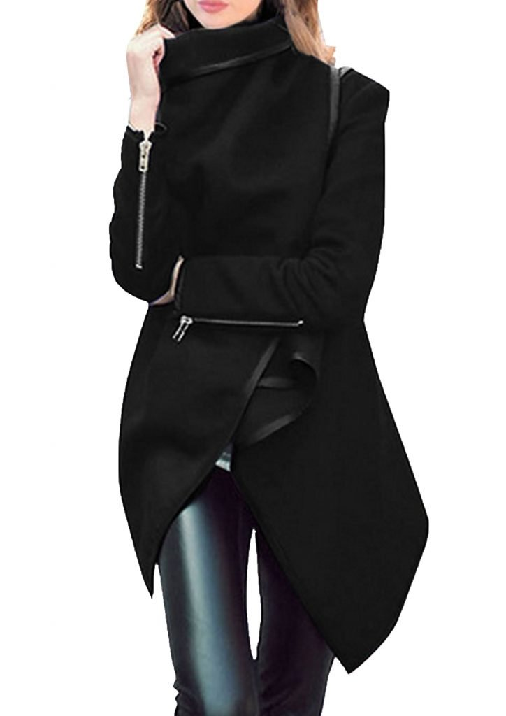 I love this Wrapped Black Coat - winter outfits