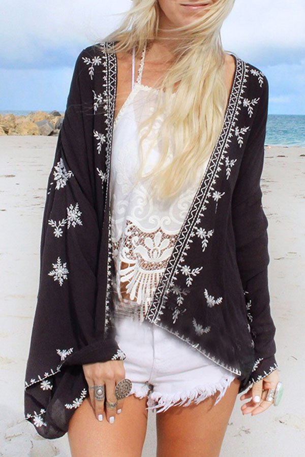 Lovely Black Kimono for a sunset at the beach