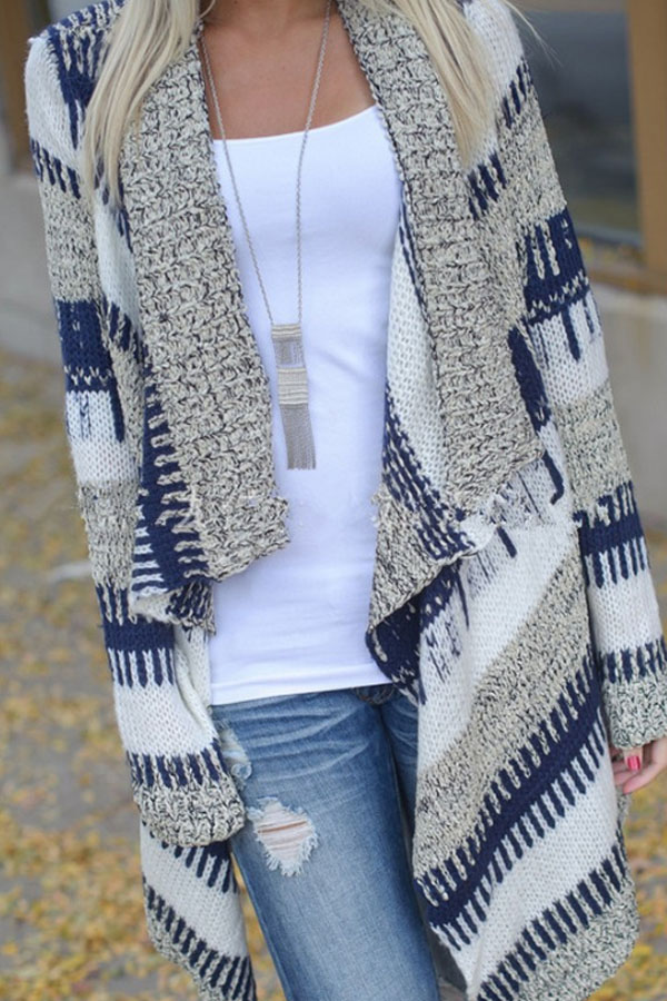 Lovely Knit Asymmetric Cardigan in grey, blue and white - fall outfits