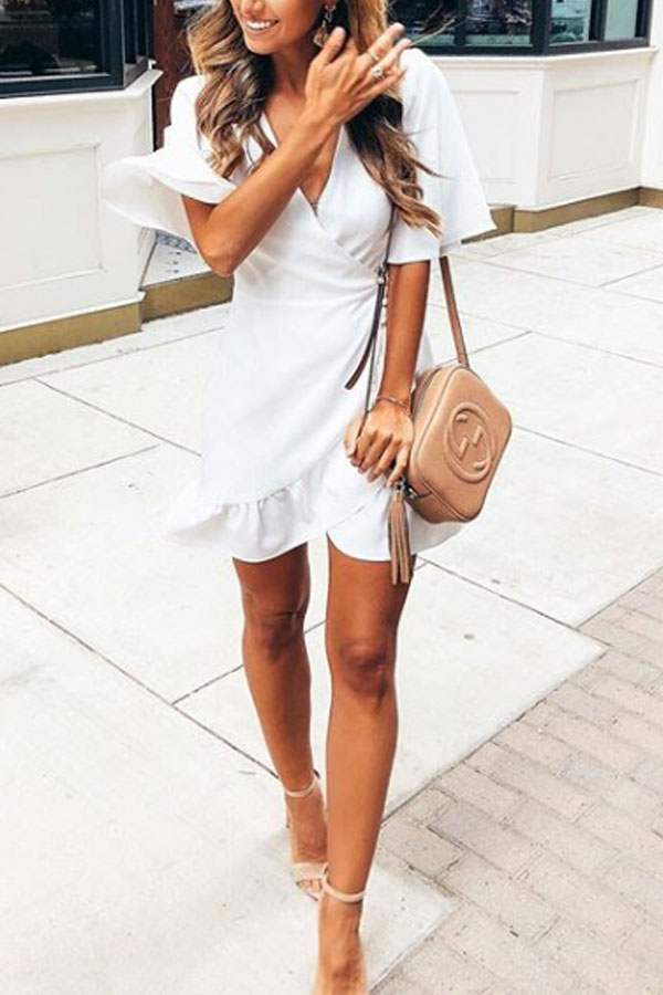 Lovely White Dress with Asymmetric Hem and Short Bell Sleeves
