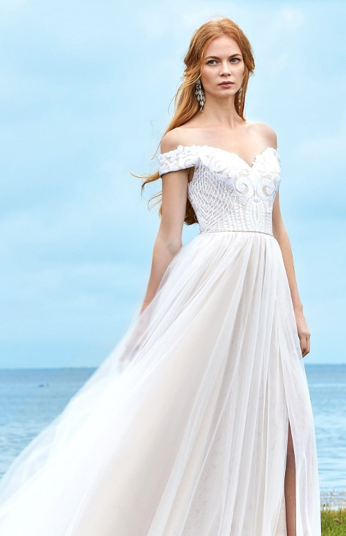 Lovely a-line sequined lace wedding dress