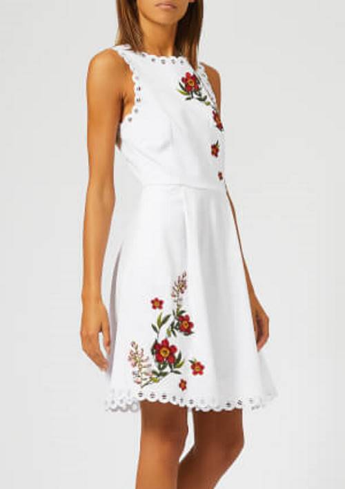 Lovely fit-and-flare white mini dress by Ted Baker #skaterdress #minidress