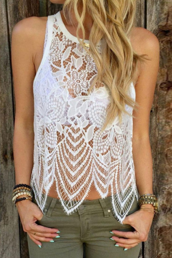 Lovely white lace top